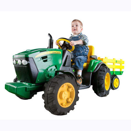 John Deere 12-Volt Battery Operated Ground Force Tractor with Wagon - 35890