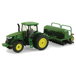 John Deere 1:64 scale 7215R Toy Tractor with Grain Drill - TBE45433