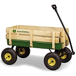 John Deere 36-inch Green Steel Wagon with Wood Stake Sides - TBEK45407