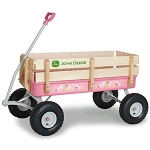 John Deere 36-inch Pink Steel Wagon with Wood Stake Sides - TBEK45465