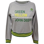 John Deere Ladies' Green Yellow Raglan Fleece Crewnesk - 23575147OX