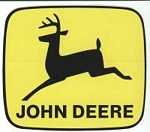 John Deere Leaping Deere Trademark Decal Black Yellow