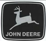 John Deere Leaping Deere Trademark Decal Silver Black