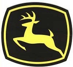 John Deere Leaping Deere 2000 Trademark Logo Decal Yellow Black