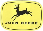 John Deere 4-Leg Leaping Deere Trademark Decal Black Yellow