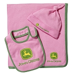 John Deere Pink Infant Blanket and Bib Set - LP53971