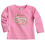 John Deere Toddler Long-Sleeve Pink Key to Grandpas Heart T-Shirt - ST01391