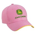 John Deere Infant Pink Twill Cap - Green/Yellow Logo
