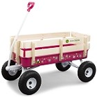 John Deere 36-inch Pink Steel Wagon with Wood Stake Sides - 46449