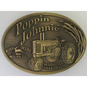 John Deere Poppin Johnnie Brass Montana Silversmiths Belt Buckle - LP36230
