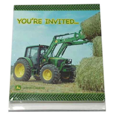 John Deere Party Invitations 8 Pack With Envelopes