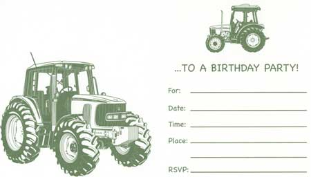 John Deere Party Invitations 8pack with envelopes