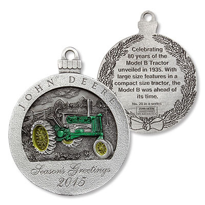 John Deere Limited Edition 2015 Pewter Christmas Ornament  20th
