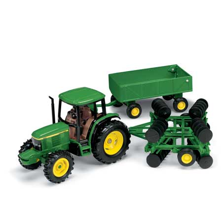 John Deere Toy 1:32 Tractor with Barge Wagon and Disk ...