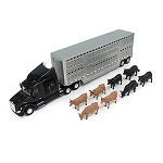 John Deere 1:32 scale Semi with Cattle Trailer and Livestock - 46486