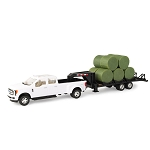 John Deere 1:32 scale Pickup Truck with Trailer and Bales - 46631