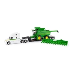John Deere 1:64 scale S780 Combine with Corn Head and Semi - 45656