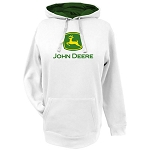 John Deere White Ladies' Fleece Hoodie with Logo - 23200000WH