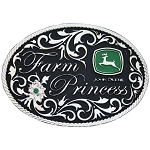 John Deere Montana Silversmiths Farm Princess Silver Belt Buckle - MS61182