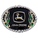 John Deere Green and Gold Flame Cast Belt Buckle - LP39874
