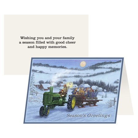 John Deere Holiday Hayride Greeting Card 12 Pack