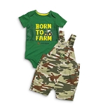 John Deere Born To Farm Green & Camo Infant Shortall Set- JSBS001G1F1