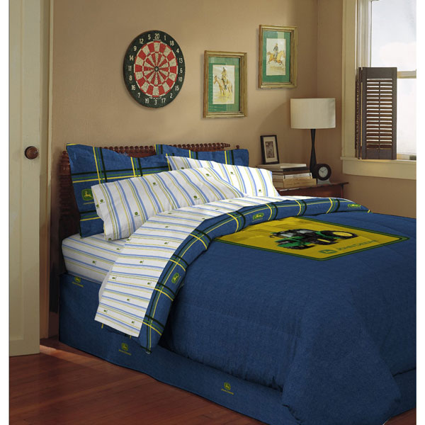 John Deere Blue Denim Bed Skirt Dust Ruffle