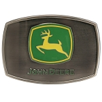 John Deere Pewter Logo Enamel Belt Buckle - LP14140