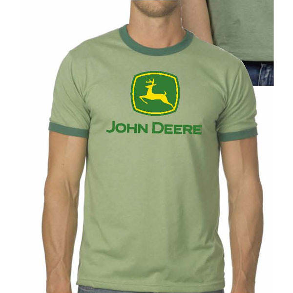 John deere canvas robertson heather green ringer t shirt for Staples custom t shirts