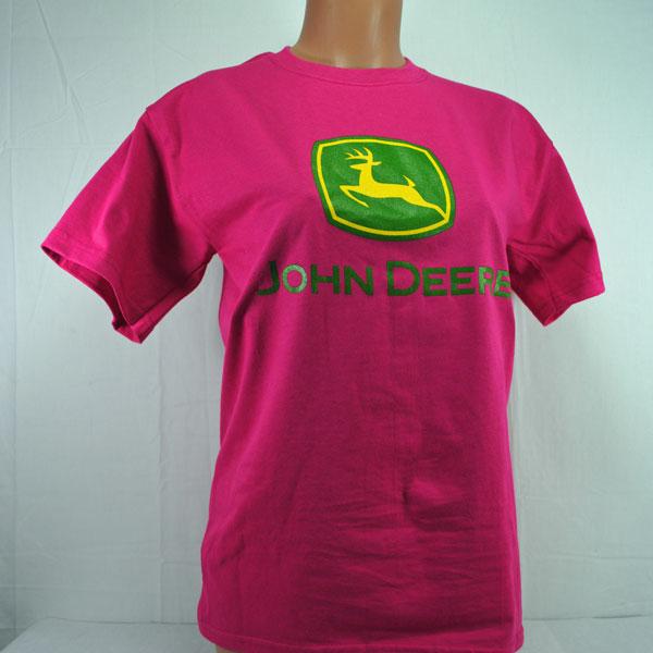 John Deere Ladies' Gildan Ultra Cotton Hot Pink T-shirt - STHPT