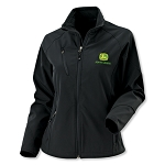 John Deere Ladies Textured Soft Shell Black Jacket - JD05901