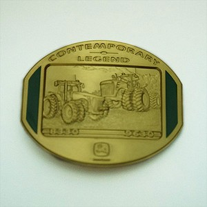 John Deere Contemporary Legends Limited Edition 2008 Gold Belt Buckle 8330 and 9630 Tractors - JP1341