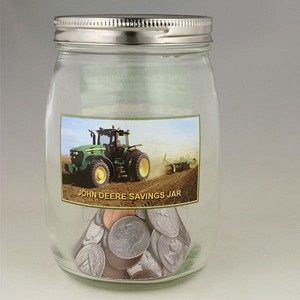 John Deere Glass Savings Jar Bank - LP51470
