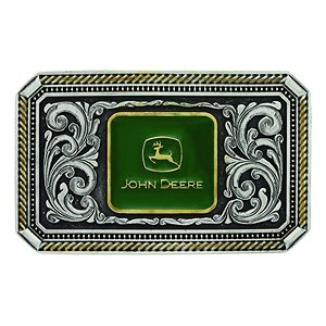 John Deere Silver and Gold Filigree Logo Belt Buckle - LP66916